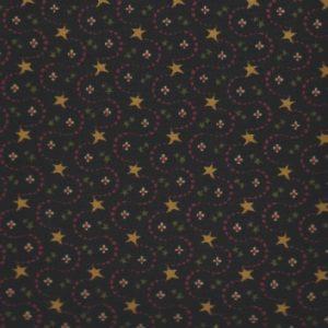 hg7079-99 henry Glass etoiles petites fleurs sur fond noir