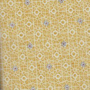 801-673 Salon Fleur petites fleurs sur fond jaune ocre